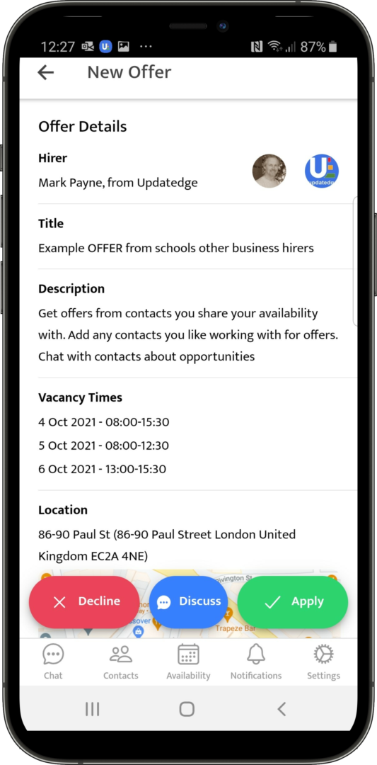 Job Offer Supply Teacher Part-time worker from schools and Business hirers